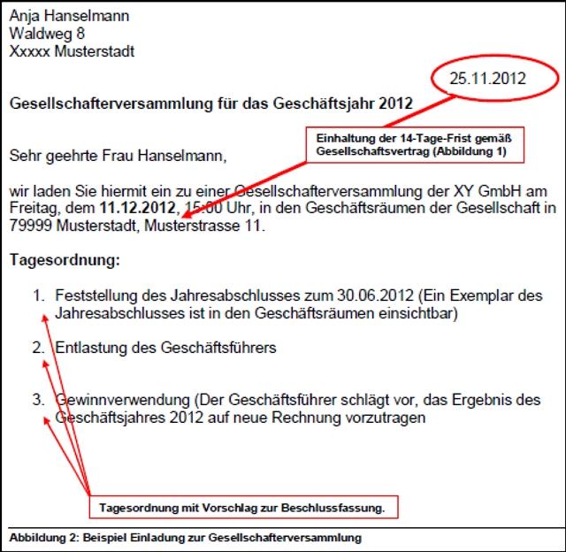 essay: haftungsfalle(n) – gmbh geschäftsführer teil ii, Einladung